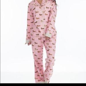 -Munki Munki- dachshund pajama set - pink
